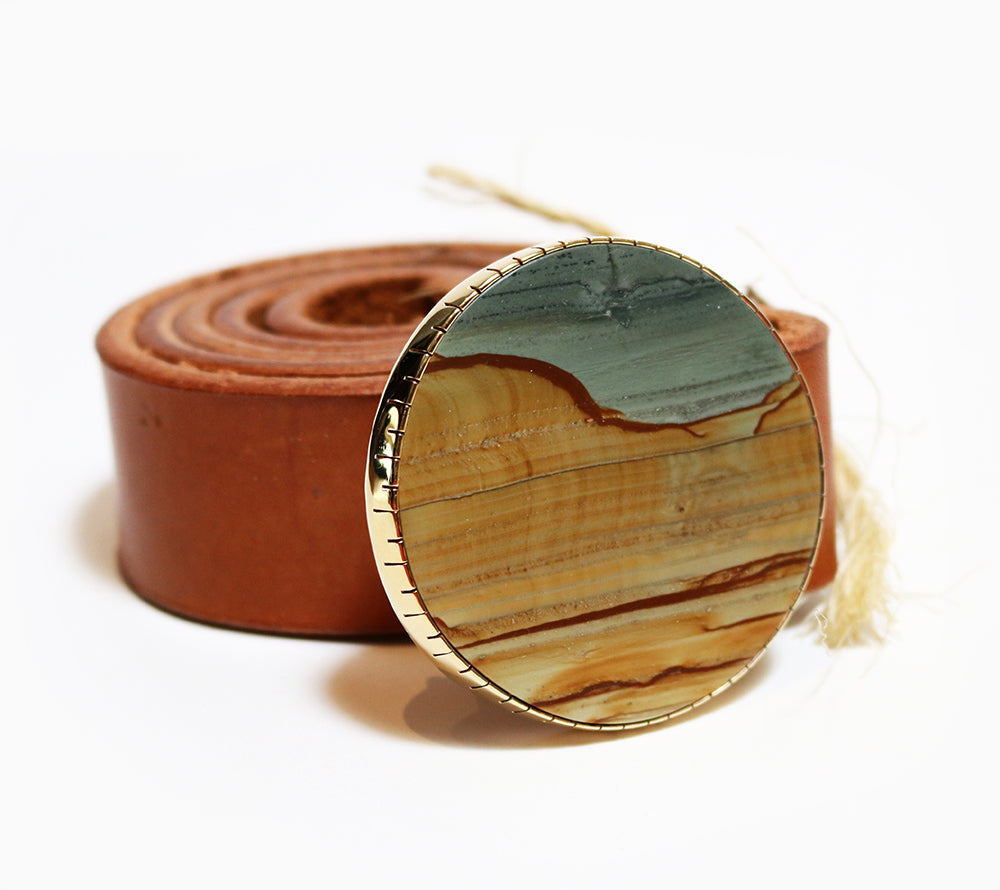 Belt Buckle - Succor Creek Picture Jasper - Round