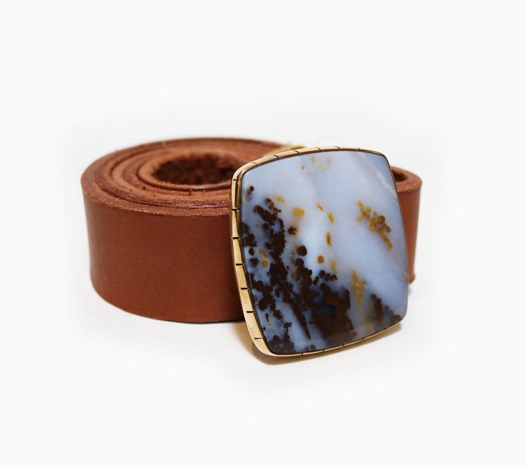 Polka Dot Agate Belt Buckle