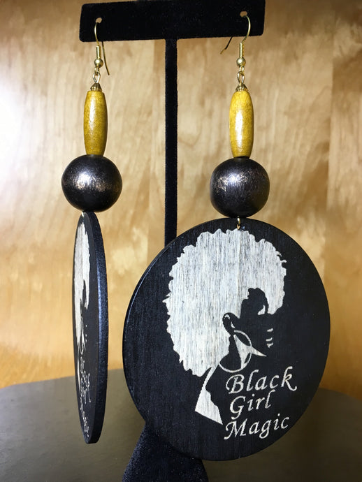 Black Girl Magic Wood Earring