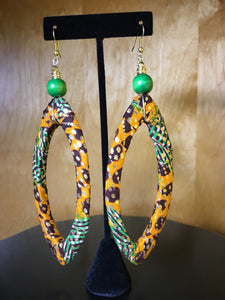 African Fabric Oval Earrings