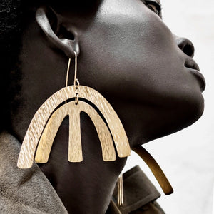Dhamani Adele Statement Brass Earrings