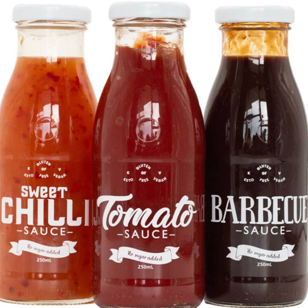 Low-Carb Sauces MIXED PACK 3 x 250ml Sweet Chilli, BBQ, Tomato. No sugar added.