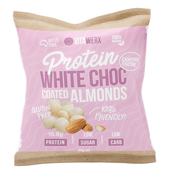 Protein White Chocolate Coated Almonds