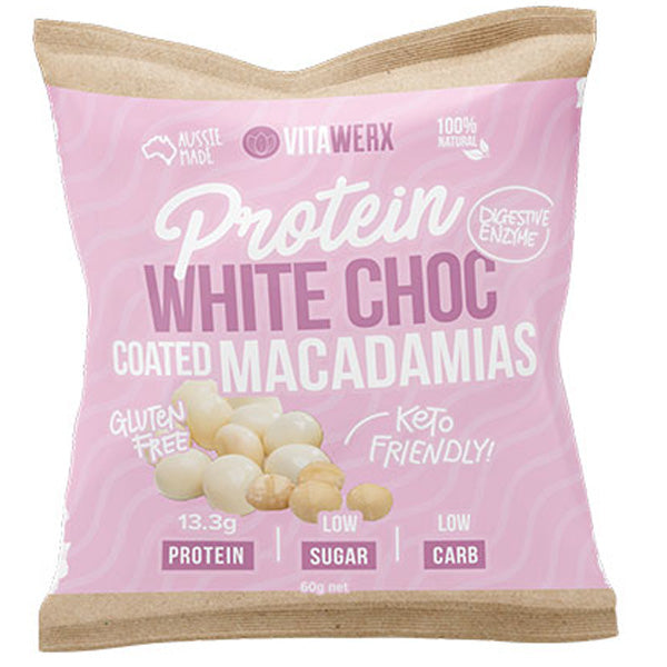 Protein White Chocolate Coated Macadamias