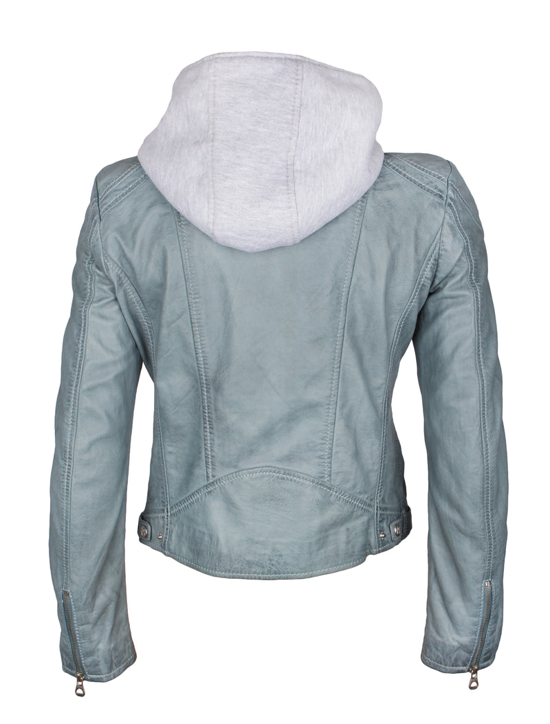 Slim Fit Bikerjacke für Damen mit Kapuze - Angy in lightblue