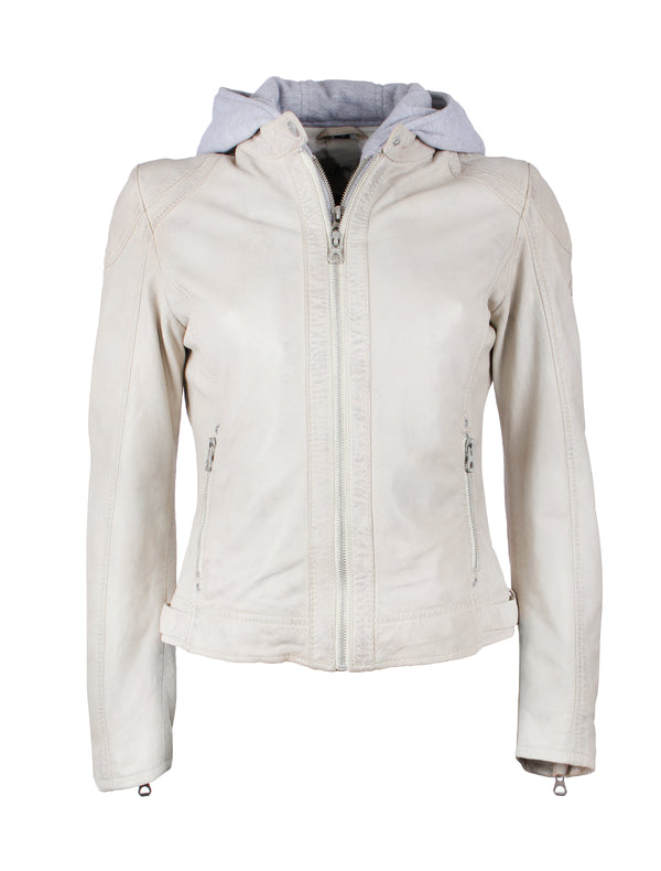 Slim Fit Bikerjacke für Damen mit Kapuze - Angy in off white