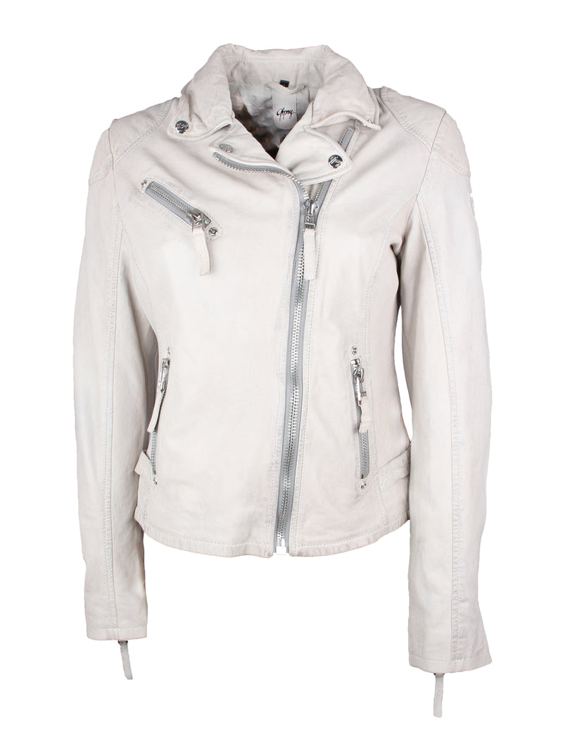 Damen Lederjacke mit Brusttasche im Bikerstil - PGG LABAGV in off white