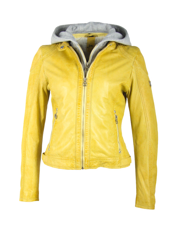 Slim Fit Bikerjacke für Damen mit Kapuze - Angy in acid yellow
