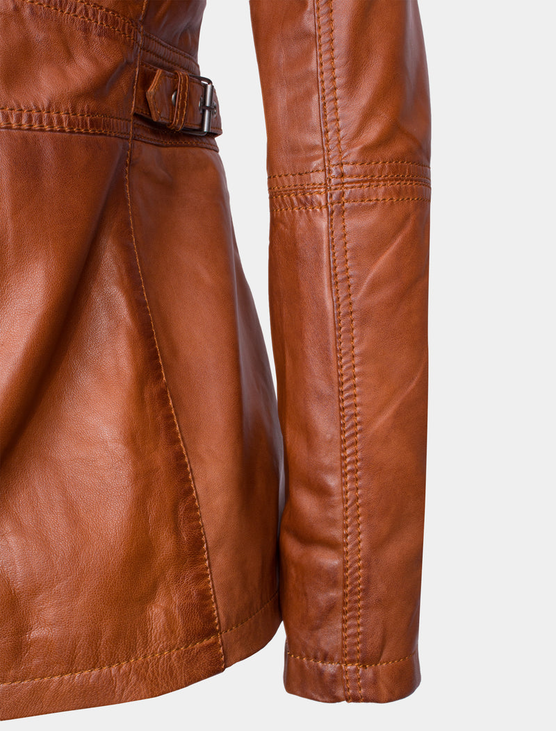 Lange Damen Lederjacke aus weichem Sheep Nappa - Angel in cognac