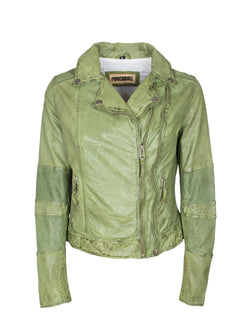 Kurze, perforierte Damen Lederjacke im Used look - Bila in grün
