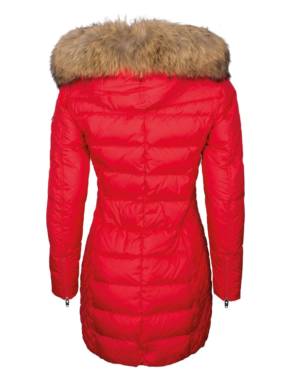 Damen Daunenmantel mit abnehmbarer Echtfell Kapuze - Beam in bright red/natural