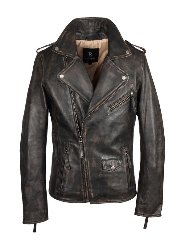 Biker Lederjacke im Vintage-Look aus Sheep Nappa - London