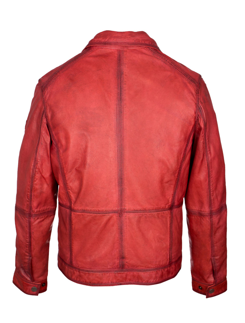 Herren Lederjacke im Washed Look von Trapper - Gary in dark red