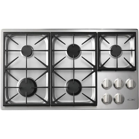 "Dacor 36"" Stainless Steel Gas Cooktop 5 Burners 62,000 Total BTU's  HPCT365GSLP"