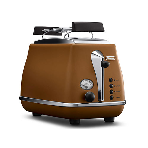 DeLonghi 2 Slice Icona Retro Electronic Toaster w/Warming Rack and Lift Lever 900 Watts CTO2103BW