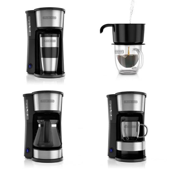 "Black+Decker 5 Cup Coffee Maker w/Permanent Filter ""4 Ways To Brew"" CM0755"