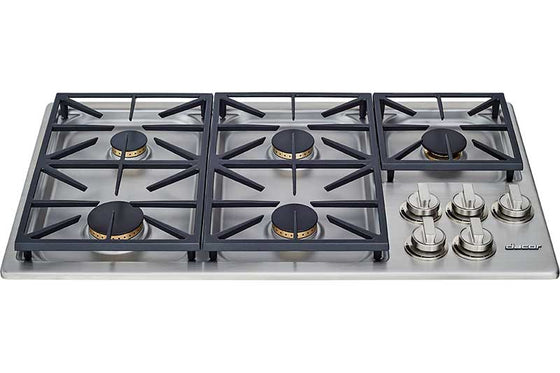 "Dacor 36"" Heritage Dual Professional Gas Cooktop 5 Burners HDCT365GS"