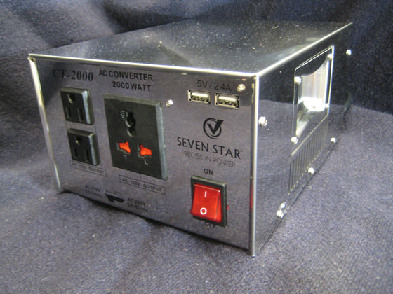 Seven Star Stainless Steel 2000 Watt Transformer w/USB ports CT-2000