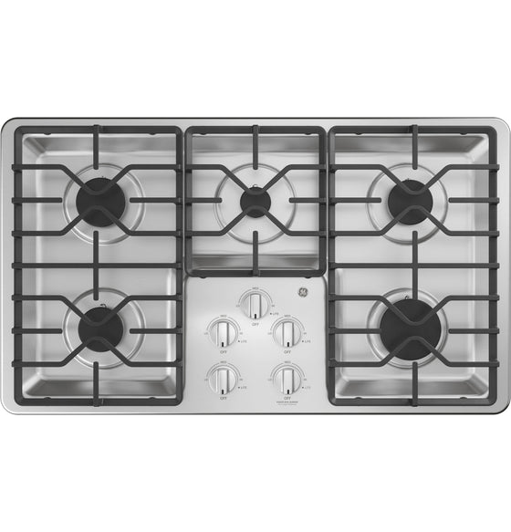 "GE 36"" Stainless Steel Gas Cooktop 5 Burners JGP3036SLSS"