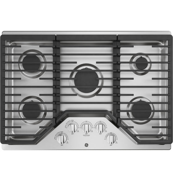 "GE 30"" Stainless Steel Gas Cooktop 5 Burners 15,000 BTU PowerBoil Burner JGP5030SLSS"