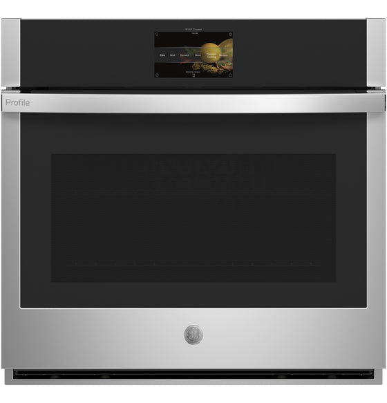 "220 VOLT GE 30"" Built-In Stainless Steel Direct-Air Convection Single Electric Wall Oven Color Touchscreen Panel PTS7000SNSS"