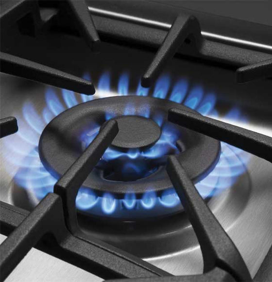 "GE 30"" Stainless Steel Gas Cooktop 5 Burners 18,000 BTU Tri-Ring PowerBoil Burner PGP9030SLSS"