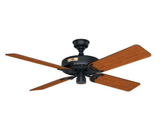 "Hunter Original Heritage 52"" Damp Rated Cast Iron Outdoor Ceiling Fan 4 or 5 Blades 50681 / 50685"