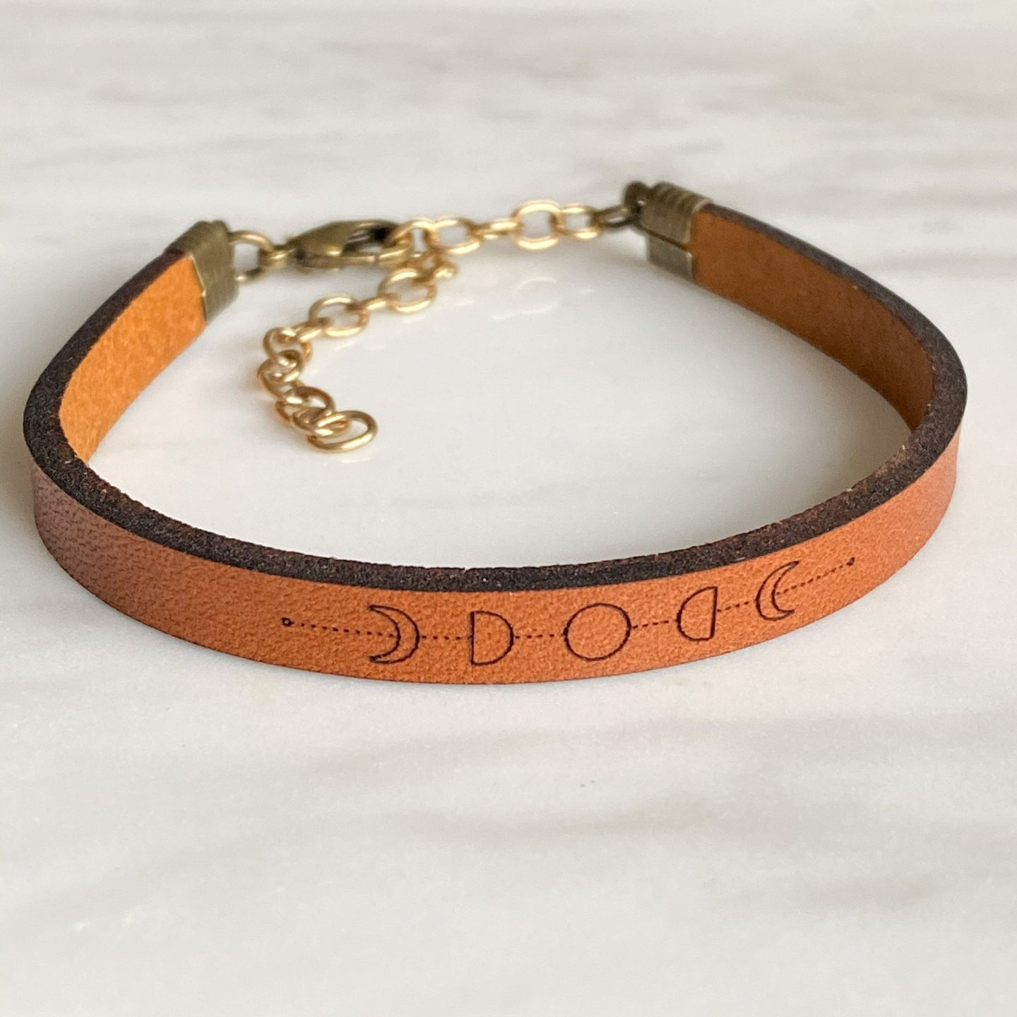 moon phase leather bracelet
