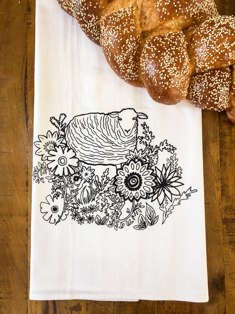 flower patch tea towel