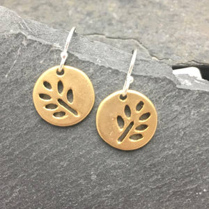 gold matte leaf earrings