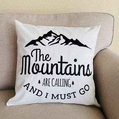 embroidered mountains are calling pillow cover