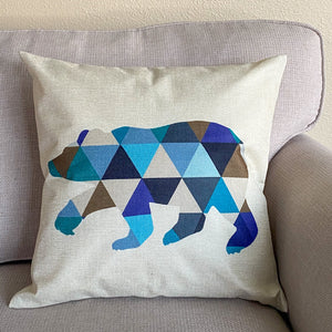 geometric bear pillow cover
