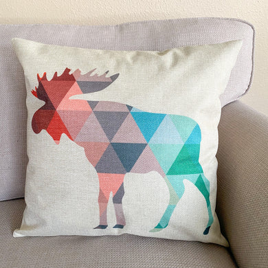 geometric moose pillow cover