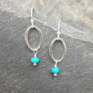 silver oval with turquoise earrings