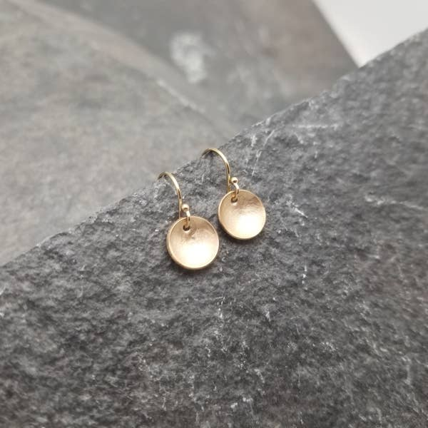 domed gold disc earrings