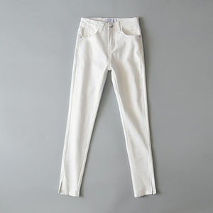 Zip-Up Leg Opening Jeans