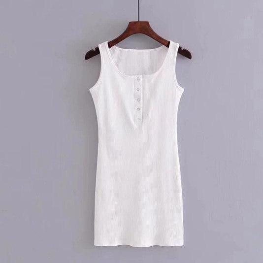 Button-Up Collar Tank Dress