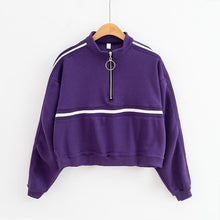 Load image into Gallery viewer, Striped Zip-Up Collar Sweatshirt