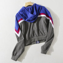 Load image into Gallery viewer, Striped Two Tone Zip-Up Fleeced Hoodie