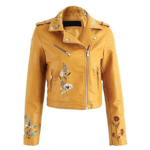 Floral Embroidery PU Leather Jacket