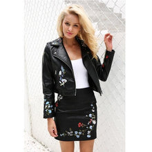 Load image into Gallery viewer, Floral Embroidery PU Leather Jacket