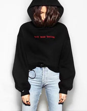 Load image into Gallery viewer, 'Hell was boring' Crop Hoodie