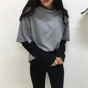Preppy Style Sweatshirt With Patchwork T-Shirt