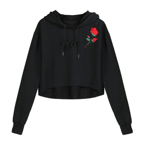 Rose Embroidery Crop Hooded Shirt