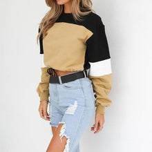 Load image into Gallery viewer, Three Tone Lace-Tied Hem Sweatshirt