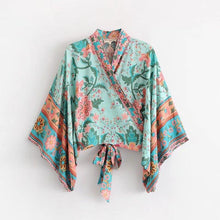 Load image into Gallery viewer, Floral Bow Tie Kimono