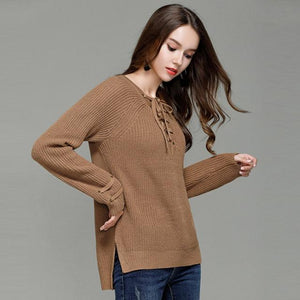 Knitted Lace-Up Sweater