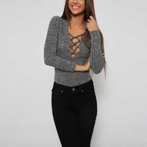 Lace-Up  V- Neck Knitted Shirt