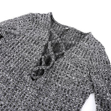 Load image into Gallery viewer, Lace-Up  V- Neck Knitted Shirt