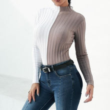 Load image into Gallery viewer, Two Tone Turtleneck Knitted Shirt